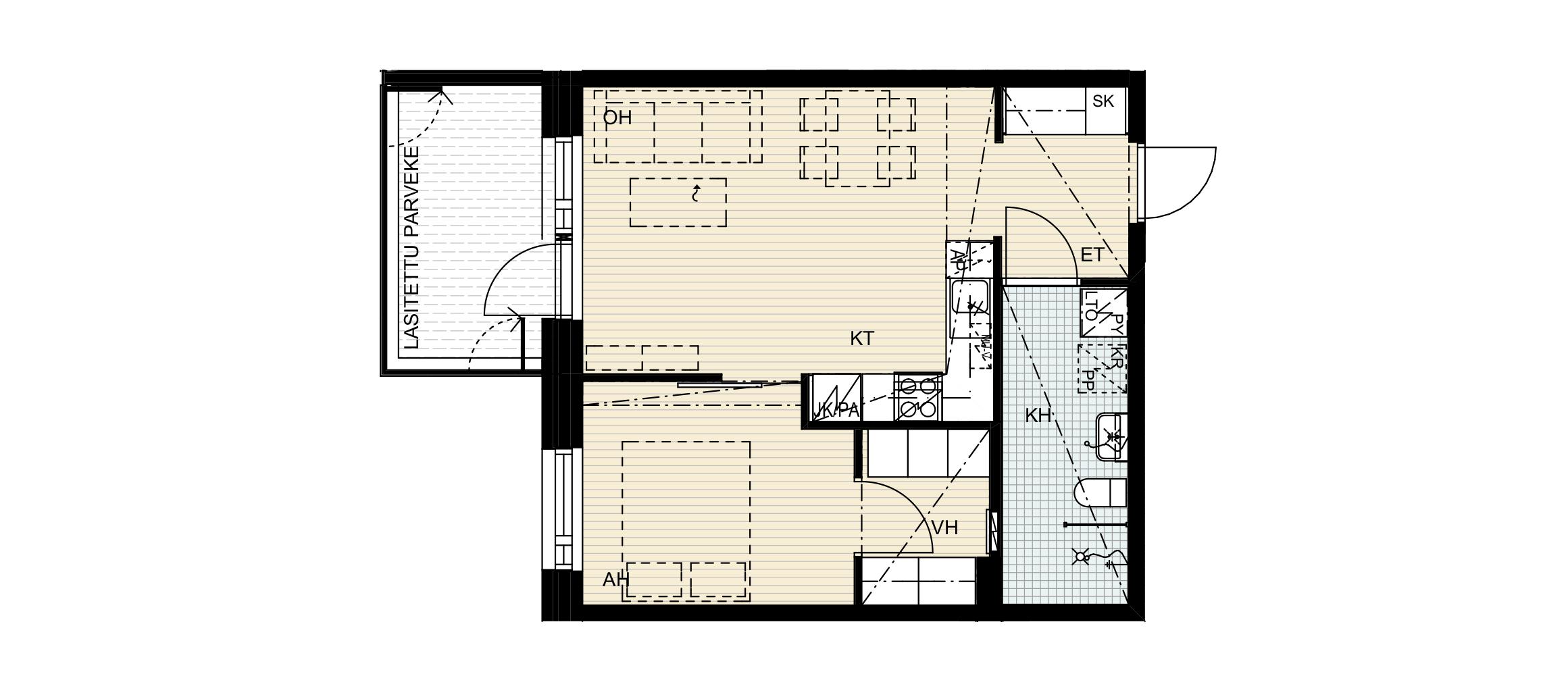 Nuttukuja 6, 2h + kt, 44 m2