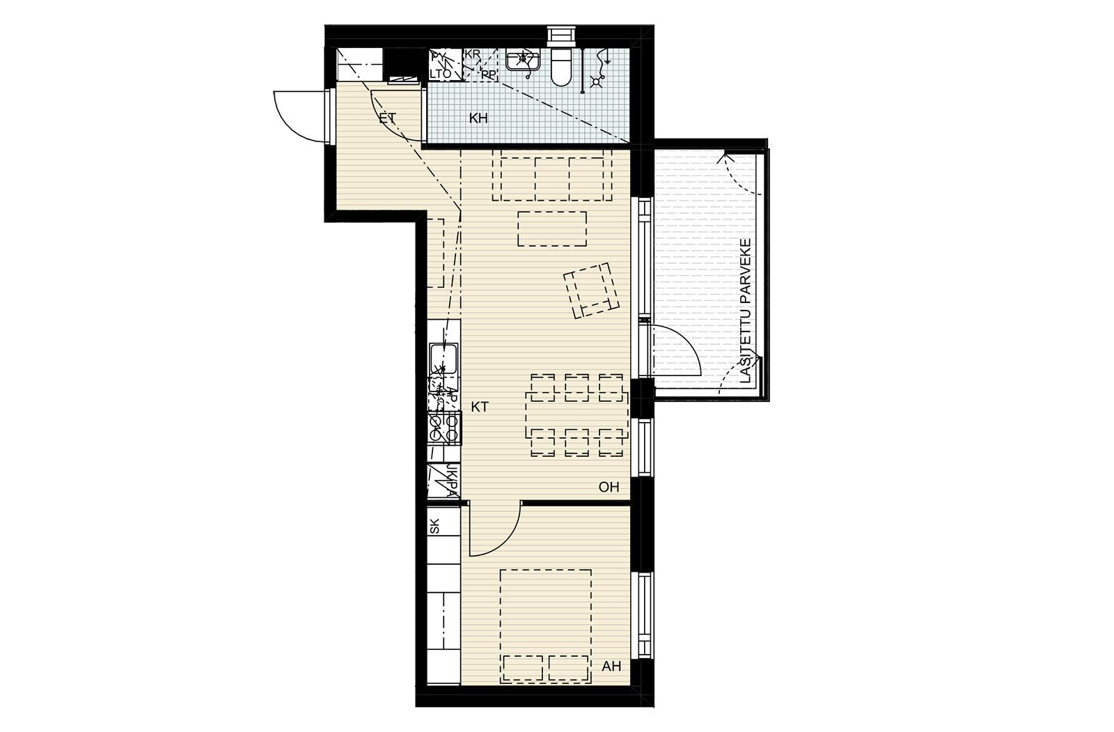 Nuttukuja 6, 2h + kt, 45 m2