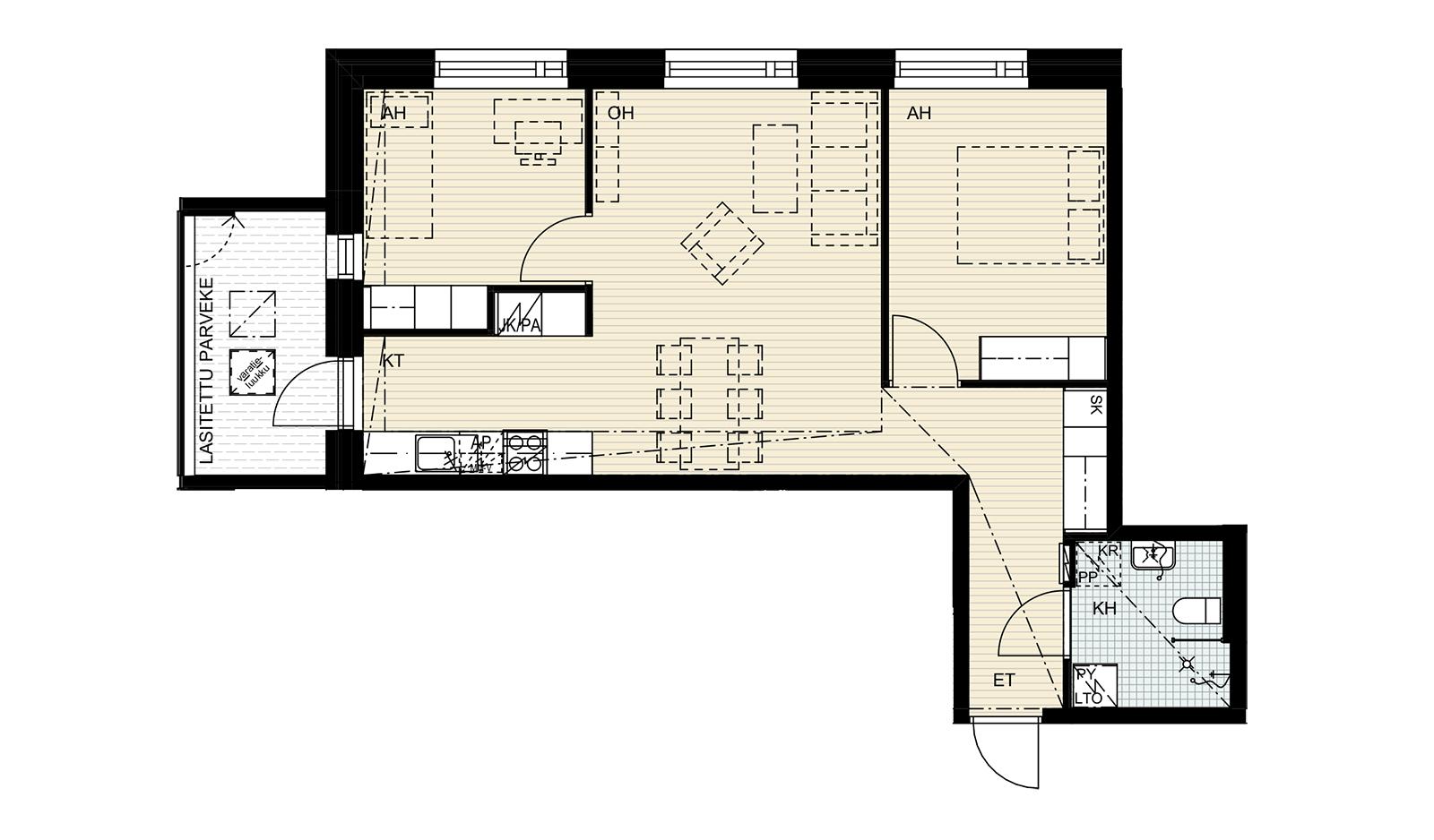 Nuttukuja 6, 3h + kt, 64 m2