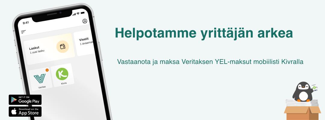 Kännykän näytössä Veritas ja Kivra sovellusten ikonit.