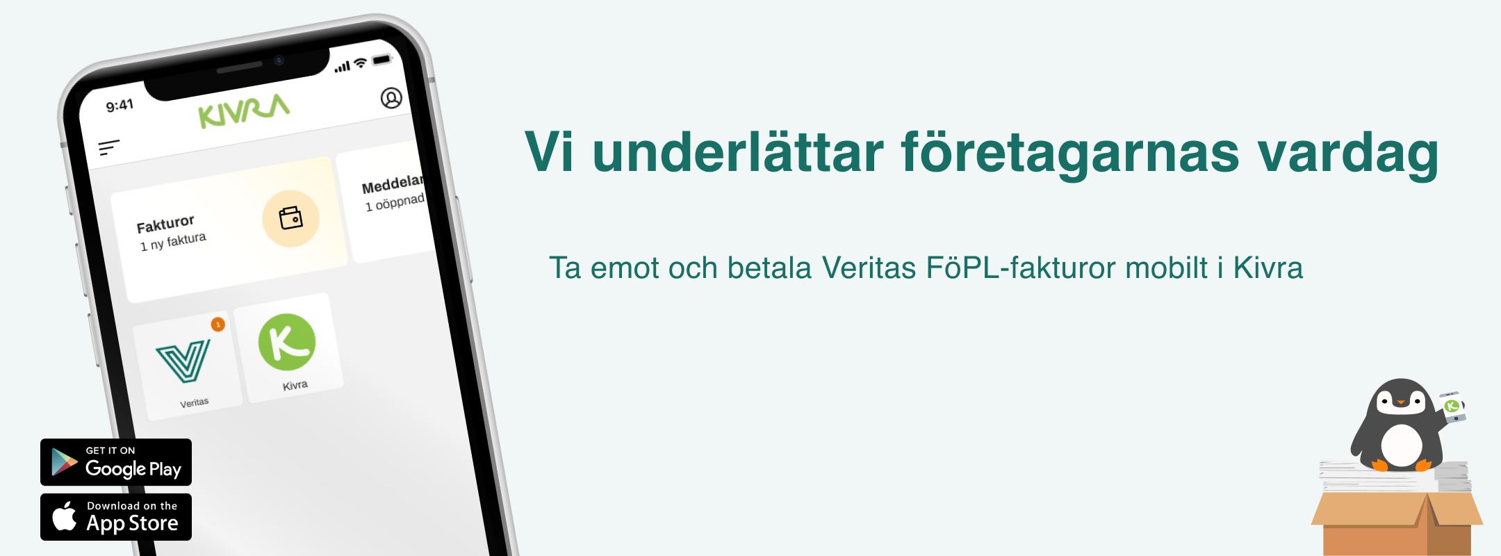 Mobilskärmen har Veritas- och Kivra-ikoner.