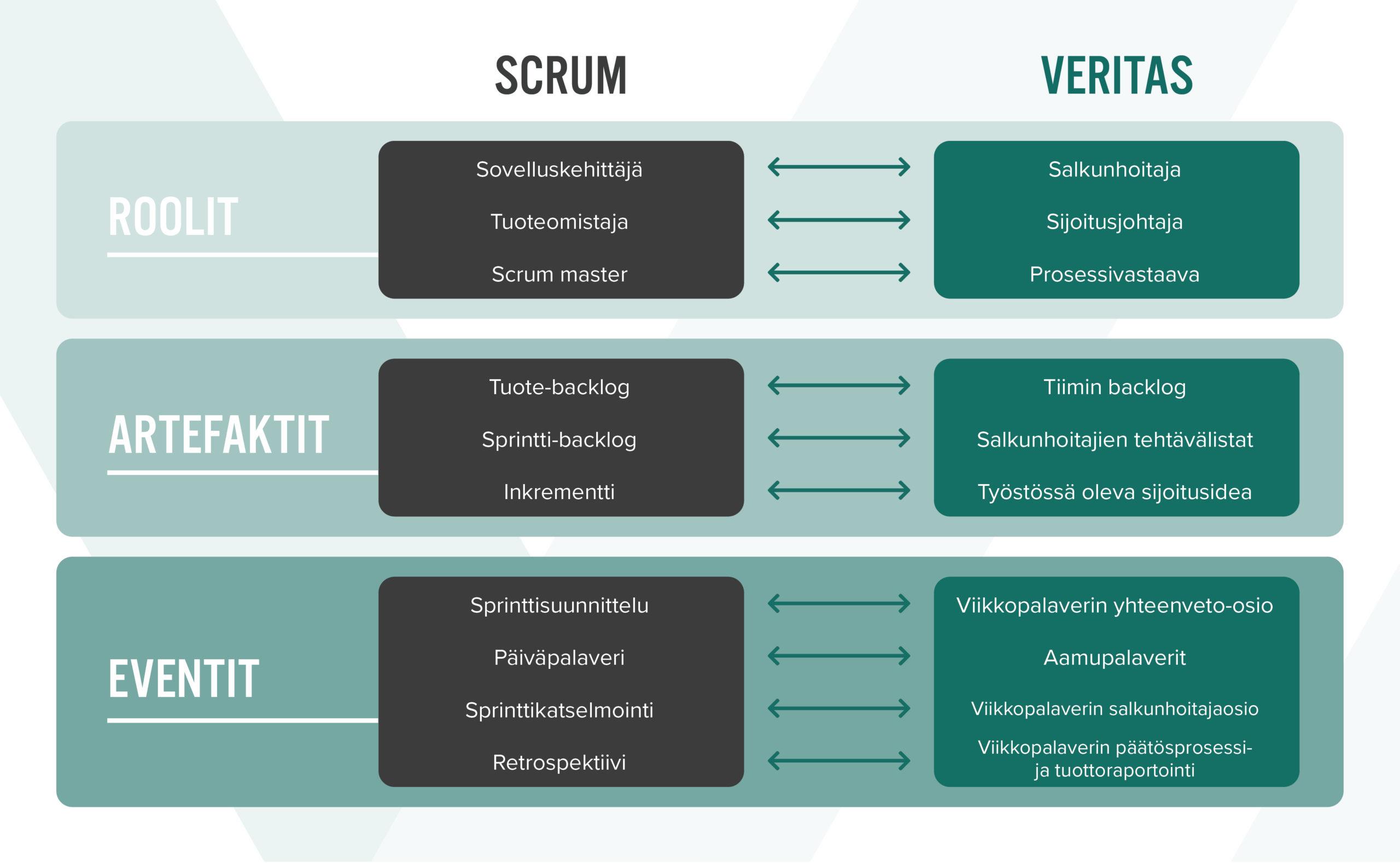 Scrumin roolit: sovelluskehittäjä, tuoteomistaja ja scrum master. Veritaksen roolit: salkunhoitaja, sijoitusjohtaja ja prosessivastaava.