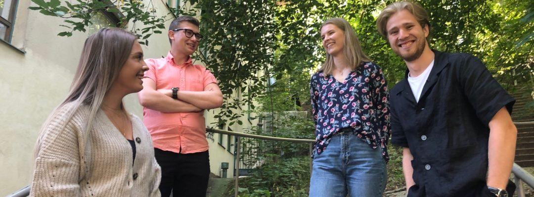 Veritas kesätyöntekijät 2020, vas. Annika Rantanen, Filip Lundsten, Ida Mäkelä ja Albert Mattsson.